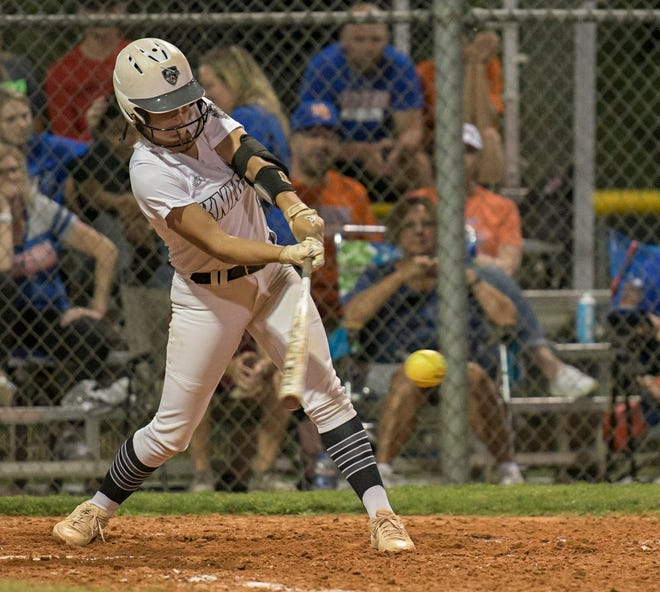 East Ridge's Katie Sexton (2) gets a hit during Wednesday's Class 7A-Region 3 semifinal game against Winter Garden West Orange in Clermont. [PAUL RYAN / CORRESPONDENT]