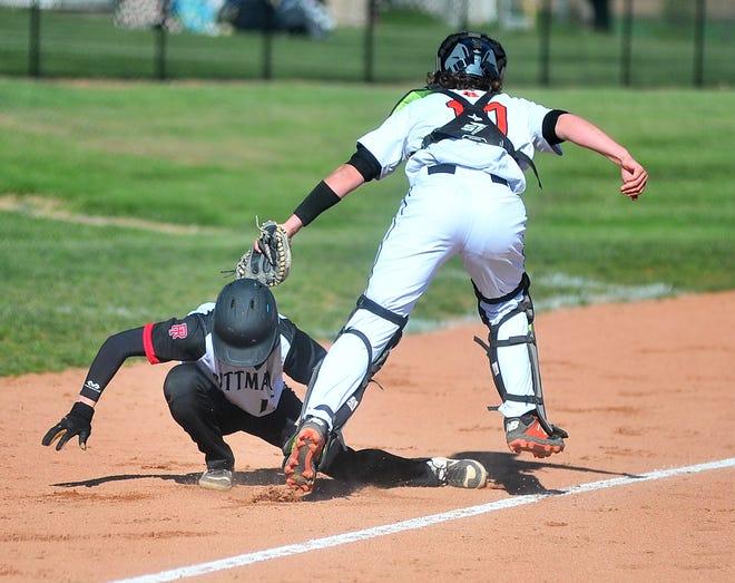 Dalton's catcher Bennet Gwin tags out Rittman's Tyler Leatherman.