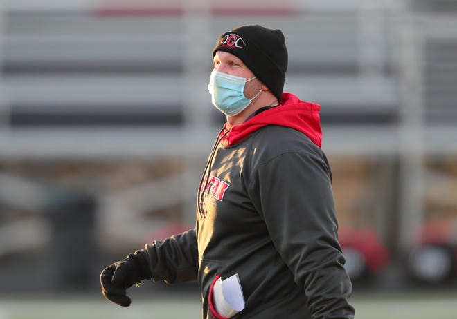 Clinton head football coach Jeremy Fielder looks on prior to his team's Division 6 regional final game against Warren Michigan Collegiate on Saturday, Jan. 9. Fielder has stepped down as Clinton's head coach after accepting an administrative position at Whiteford Agricultural Schools.