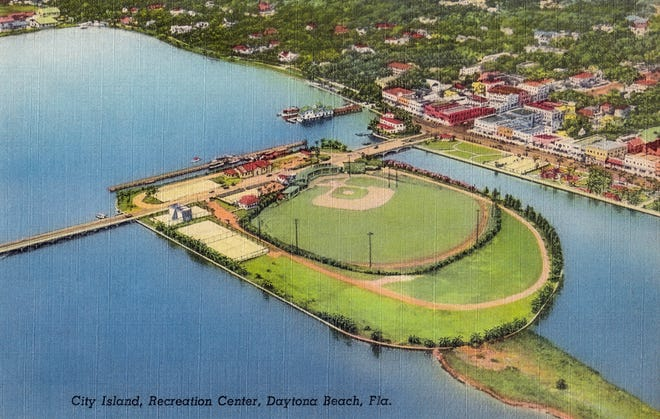 A postcard image of City Island Ballpark as it looked in the 1940s, when Jackie Robinson played there.