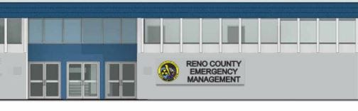 This is a drawing of the proposed internally-lit sign for Reno County Emergency Management that would go on the outside of the Law Enforcement Center. A motion to buy the sign, however, failed for lack of a second at the County Commission on Tuesday.