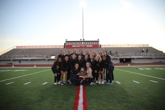 Shown is the Basehor-Linwood women's track and field team following its United Kansas Conference Championship win Wednesday at Shawnee Heights.