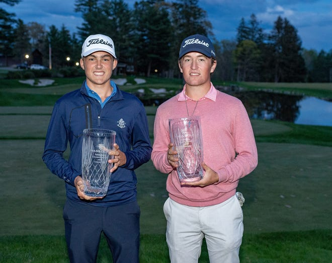 John Broderick, of Wellesley, and Weston Jones, of Sudbury, hold their prizes after winning the Massachusetts Amateur Four-Ball tournament that concluded on Wednesday.
