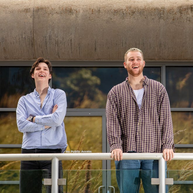 """Jackson Gifford, left, artistic director of the new Southern Plains Productions, and Jacob Musgrove, director of the new theater's first production, watch rehearsals of Bess Wohl's play """"Small Mouth Sounds"""" on the Myriad Gardens Water Stage."""