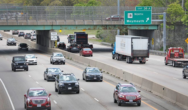 Cars travel down Route 3 near Weymouth on Thursday May 13, 2021.