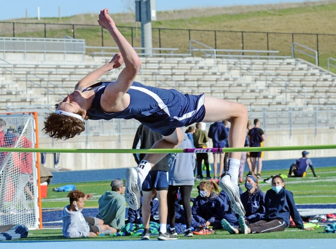 Petoskey's Ben Shuman set a new personal best in the high jump by clearing the bar at 5-feet, 9-inches.