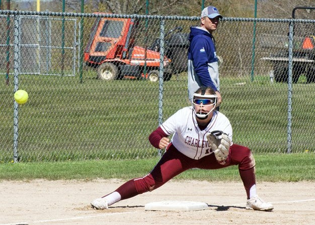 Charlevoix's Zoe Brodin focuses in on a throw to third base against Petoskey.