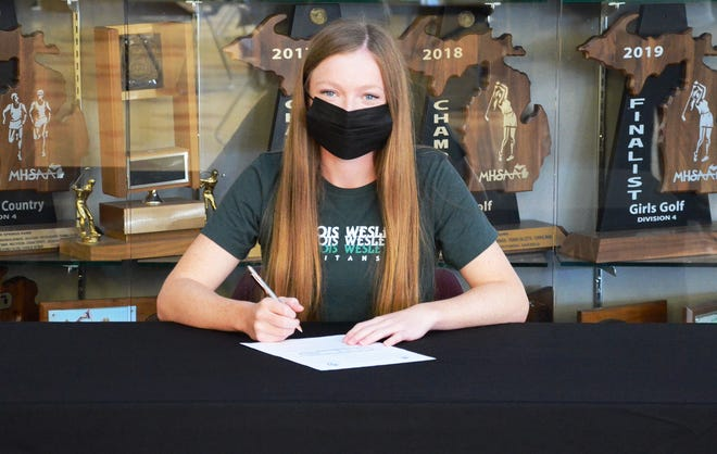Harbor Springs senior Jacque O'Neill will play collegiate golf at Illinois Wesleyan, which she made made a done deal on Thursday among her family and coaches at Harbor Springs High School.