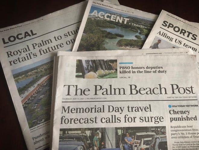 The Palm Beach Post newspaper in West Palm Beach, Florida in 2021.
