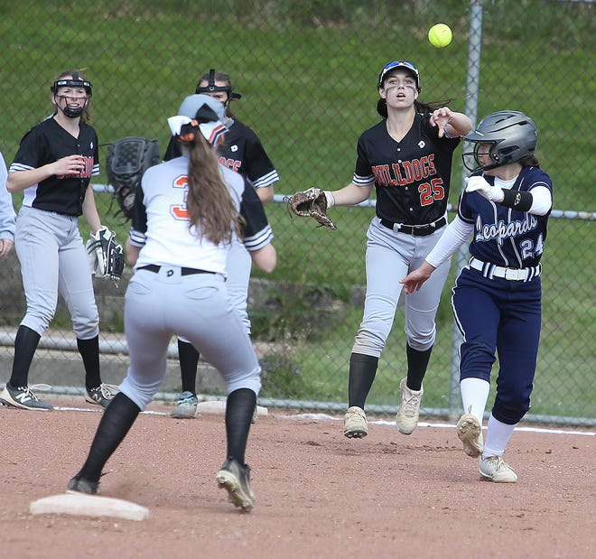 Green's Kayley Duskey throws to Ella Collinsworth at seciond base as they run down Louisville runner Kenzi Denzer for an out in their D1 sectional final game.