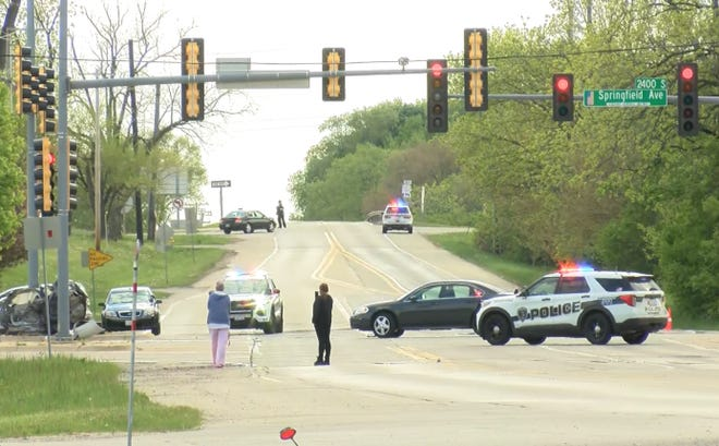 A serious crash shut down the intersection of Springfield Avenue and Montague Road the evening of Thursday, May 13, 2021, in Rockford. Rockford police reported on Twitter that two juveniles died in the crash.