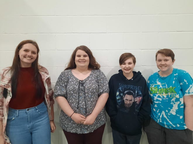 Stephenville High School students who placed 5th in Group Design at the state UIL competition for Theatrical Design Lauren Pope, Suellyn Hunter, Faith Mayhar and Emma Pope.