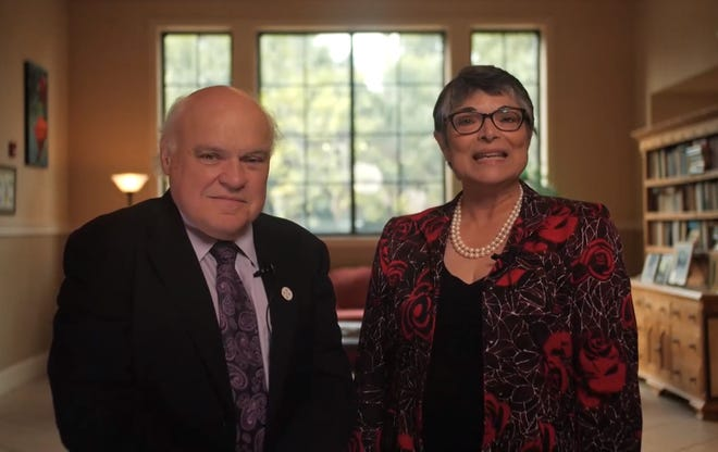 Donal O'Shea with Mary Ruiz, chair of New College's board of trustees. The Donal B. O'Shea Scholarship Endowment will give five to 10 students annually the opportunity to accessa New College education.