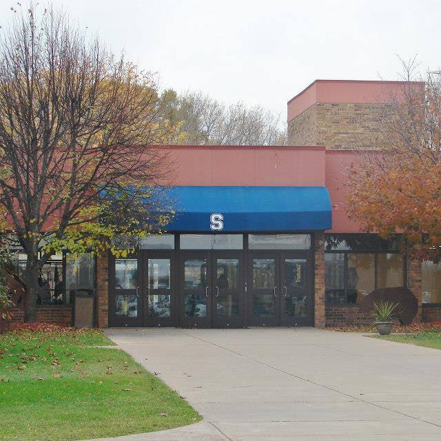 Sault Area High School entrance, located at 904 Marquette Ave. in the Sault.
