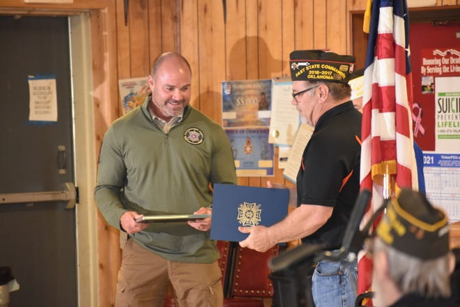 On Tuesday night, Shawnee's Veterans of Foreign Wars (VFW) Post 1317 honored its pick for Officer of the Year, Pottawatomie County Sheriff Deputy David DeWitt. He also was named runner up Officer of the Year for the State of Oklahoma.