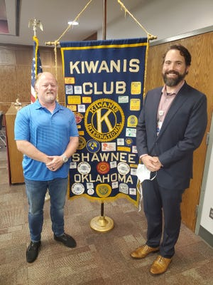 Pictured, from left, are Shawnee Kiwanis Club Program Chair John Winterringer and Dr. Gregory Grant, of SSM Health St. Anthony Hospital-Shawnee. Grant was the featured speaker at this week's Kiwanis Club meeting.