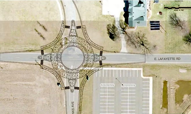 Proposed roundabout on East Lafayette Road that also would connect to an extension of North Franks Avenue in Sturgis.