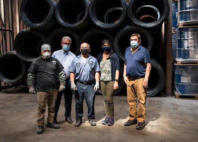 From left, Charlie Miranda, CEO James Knott, Ron Ellis, Anisha Kulkarni and Joe Mahoney at Riverdale Mills, a manufacturer of wire mesh products.