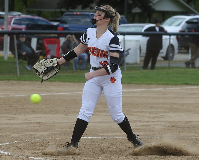 Strasburg's Amelia Spidell throws a pitch in the Division IV Sectional final with Bellaire Thursday.