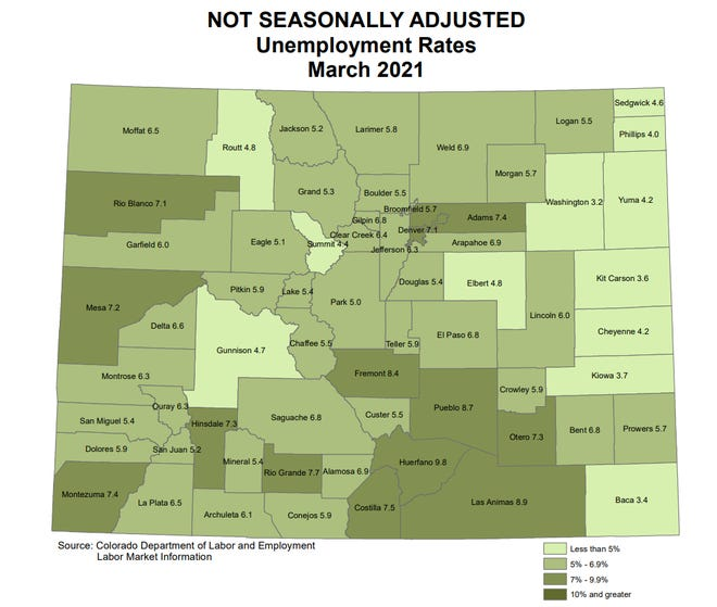 Thematic map of Colorado's unemployment in March 2021.