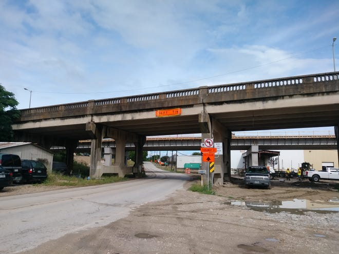 Work was progressing in 2020 on the first of two new viaducts that will carry U.S. Highway 77 south of Waxahachie. Two-way traffic will be shifted to the new bridge (background) starting Tuesday. The old bridge (foreground) will be replaced with a new one that will open in the spring of 2022.