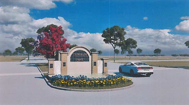 An artist's rendering of the entrance to the proposed Dominion Park development. The Waxahachie Planning and Zoning Commission approved, with conditions, a zoning change for the planned development at Tuesday night's meeting.