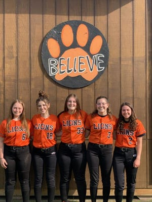 Wellsville honored its talented handful of seniors before Wednesday's game. Left to right: Maddie Spicer, Mallory Sibble, Lauren Cicirello, Matti Burke and Carley Young.