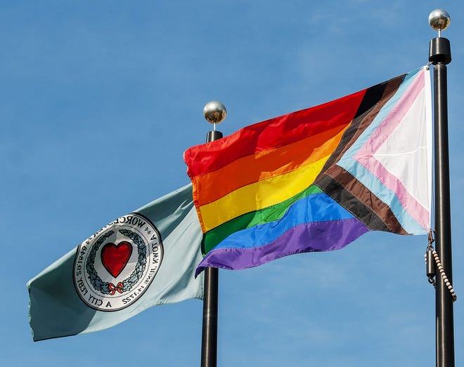 The City of Worcester flag and the Pride flag fly in front of City Hall Sept. 8, 2020.