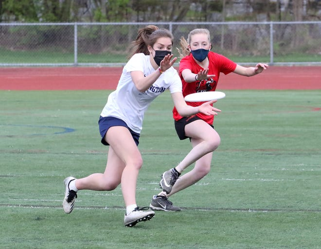 Burlington's Rosalie Brown concentrates on the disc during the Seahorses' 15-5 Ultimate win over CVU on Wednesday night at BHS.