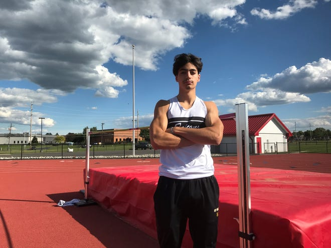 Burlington Township's Skyler Salay broke a 43-year school record in the high jump, leaping 6-feet, 6 1/4-inches last Friday.