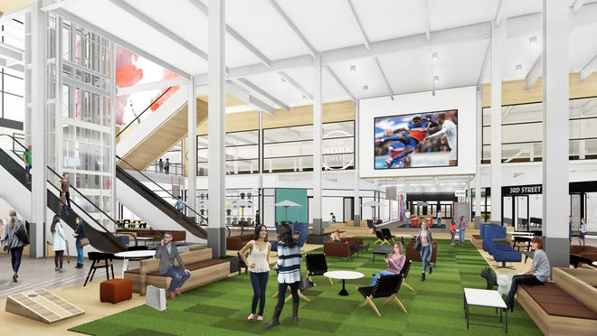 An artist's rendering of the inside of the renovated Gallery Building at Newport on the Levee