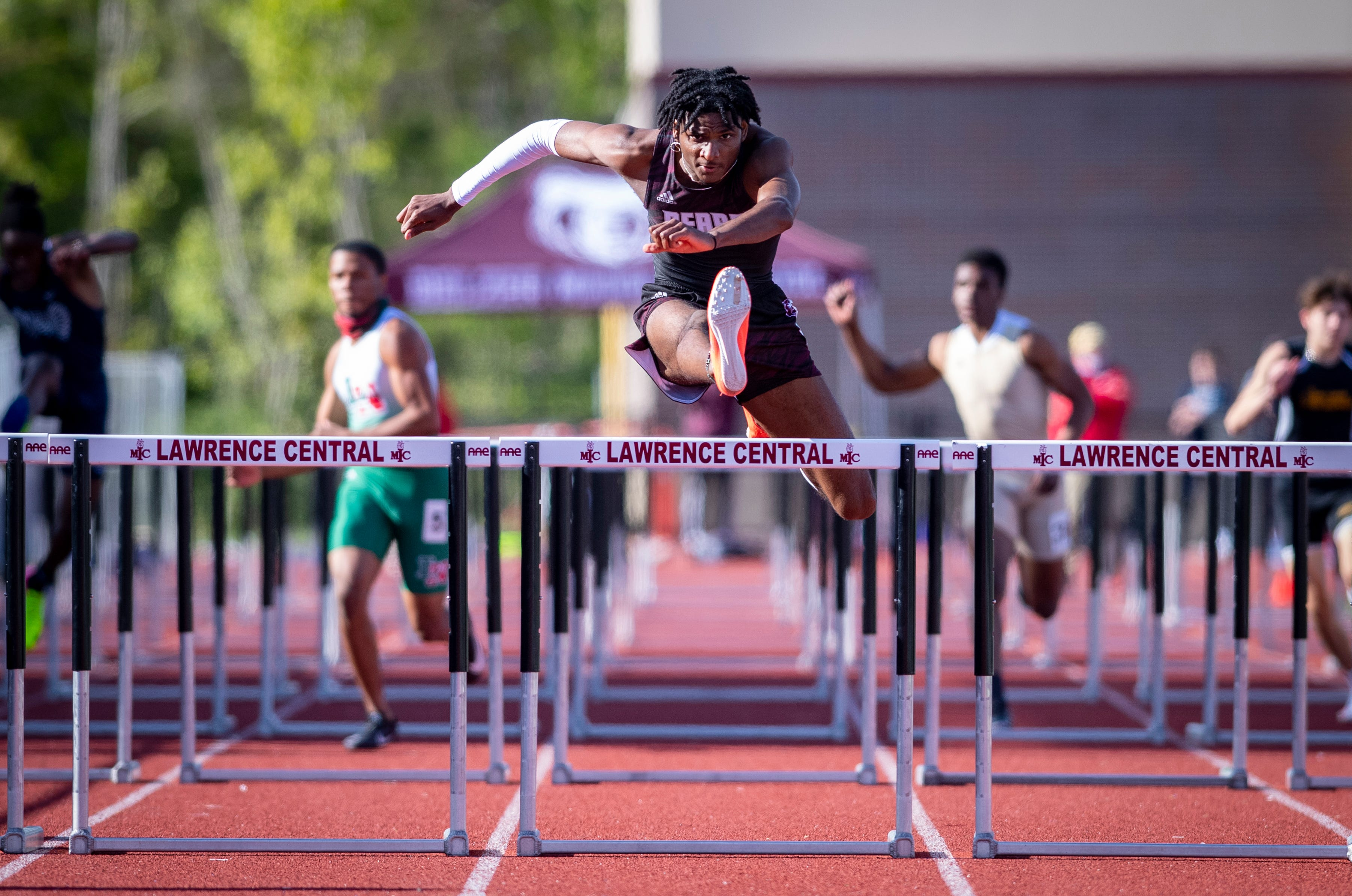 Lawrence Central's Paul Goins runs state's fastest hurdles race
