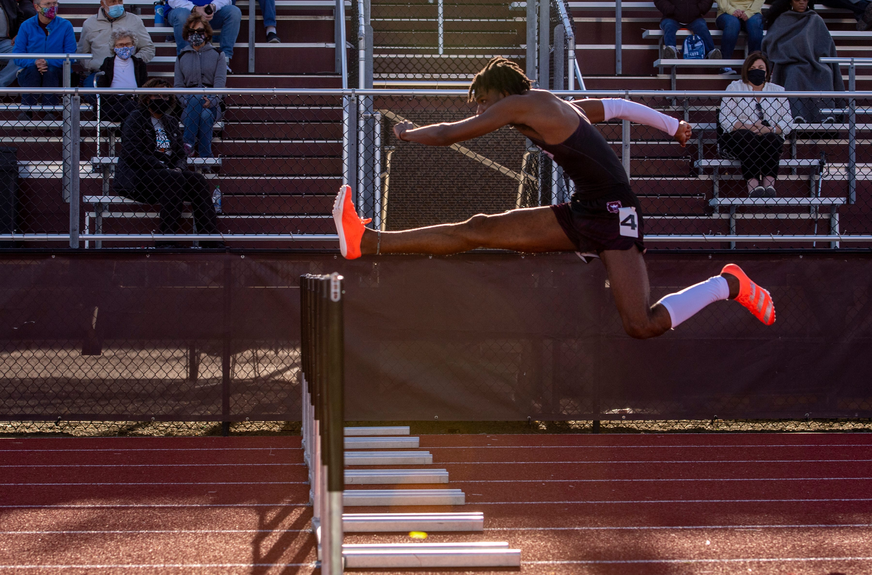Lawrence Central hurdler Paul Goins sweeps county