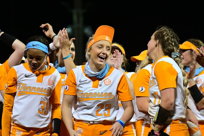 Tennessee Lady Vols softball outfielder Kaylan Cole (No. 23) smiles after the team's win against Texas A&M at the SEC Tournament in Tuscaloosa, Alabama, on May 12, 2021.