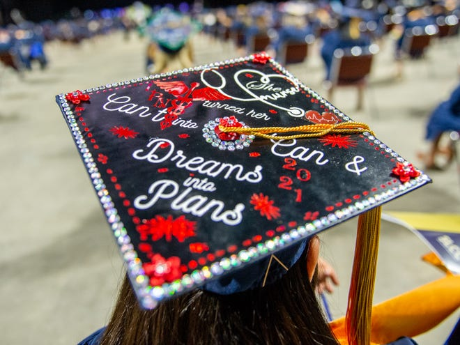 South Louisiana Community College celebrates its spring graduates with an in-person ceremony Thursday, May 13, 2021.  It is the first face-to-face commencement after two semesters of drive-through graduation.