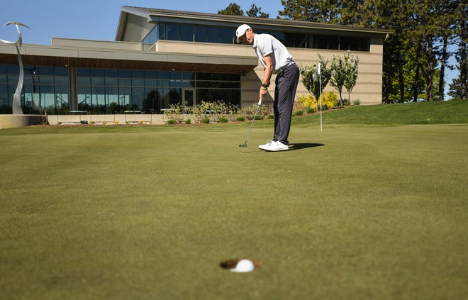 MSU senior golfer James Piot, works on his putting game Thursday, May 13, 2021, at the Lasch Family Golf Center.