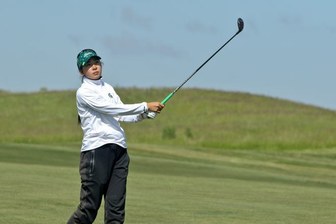 Michigan State women's golfer Yurika Tanida watches her shot during the first round of the NCAA Regional on May 10, 2021, in Louisville, Kentucky.
