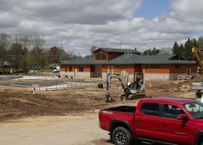 The Vandehey Waters Aquatic Center is seen under construction on May 4 at 1805 S. Roddis Ave. in Marshfield.