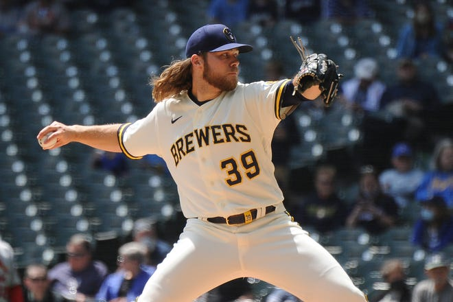 Brewers starting pitcher Corbin Burnes struck out nine hitters in five innings Thursday afternoon and established a major league record for most strikeouts before walking a batter.