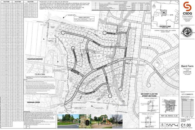 A rendering of a future neighborhood named Baird Farm in Hendersonville,.