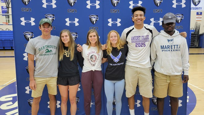 Six Community School of Naples seniors signed to play their sports in college at a ceremony Thursday, May 13, 2021. Pictured from left: Matt Molloy (swimming, Dartmouth), Maria O'Malley (cross country, Florida State), Grace O'Malley (cross country, Florida State), Olivia Weiss (track, Air Force), Ryker Vance (basketball, Amherst), Lovenson Xavier (basketball, Marietta).