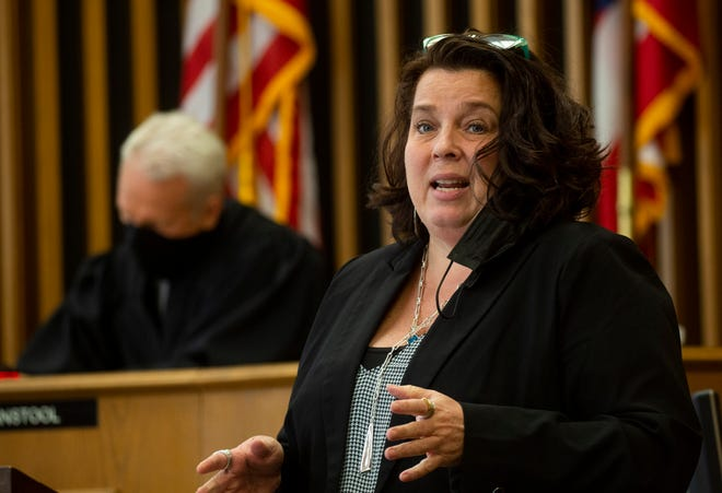 Defense Attorney Cassandra Mayer gives her opening statement in the Kalina Gillum trial where she is accused of attempting to terminate her late term pregnancy and failing to seek medical care for her infant, back in 2019, in the Licking County Common Pleas Court at the Licking County Courthouse in Newark, Ohio on May 13, 2021.
