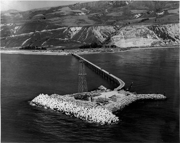 Construction was completed on Rincon Island off the coast of Mussel Shoals in 1959.