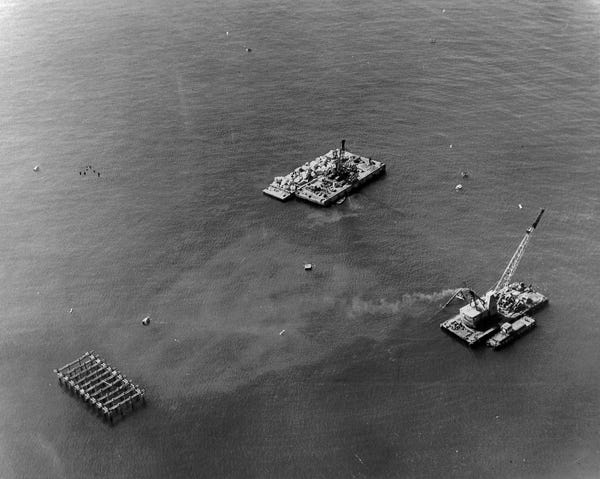 Rincon Island is under construction in the 1950s.