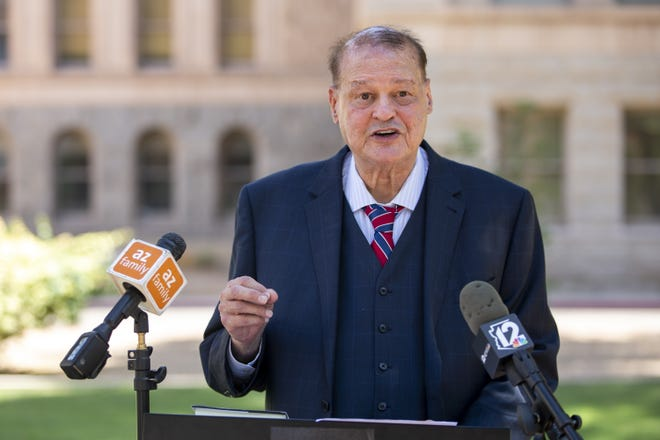 Tom Horne, onetime Arizona attorney general, announces his bid for Arizona superintendent of public instruction at the state Capitol in Phoenix on May 13, 2021. Horne also was Arizona schools chief from 2003 to 2011.
