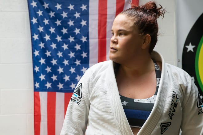 Brittany Inkrote, 33, looks on during a class at York Brazilian Jiu-Jitsu on Thursday, May 6, 2021.