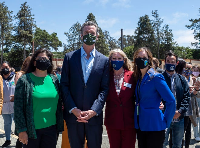 Gov. Gavin Newsom is photographed during a press conference at Elkhorn Elementary School in Castroville, Calif., on Wednesday, May 12, 2021.