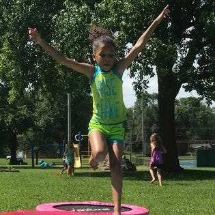 One of the Run for Fun exercises is sprinting to the mini-trampoline and bounding over the small pool. Run for Fun is for children  6 to 11 who live in Springfield. It's  free and will be held at 10 a.m. every Saturday in June and July at Hailey's Playground in Westport Park near Westport Elementary School. It is sponsored by the Springfield-Greene County Park Board.