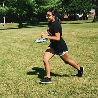 One of the Run for Fun exercises is the Cake Relay. Run hard, but don't drop the cake.  Run for Fun is free for children 6 through 11 who live in Springfield. It is sponsored by the Springfield-Greene County Park Board.