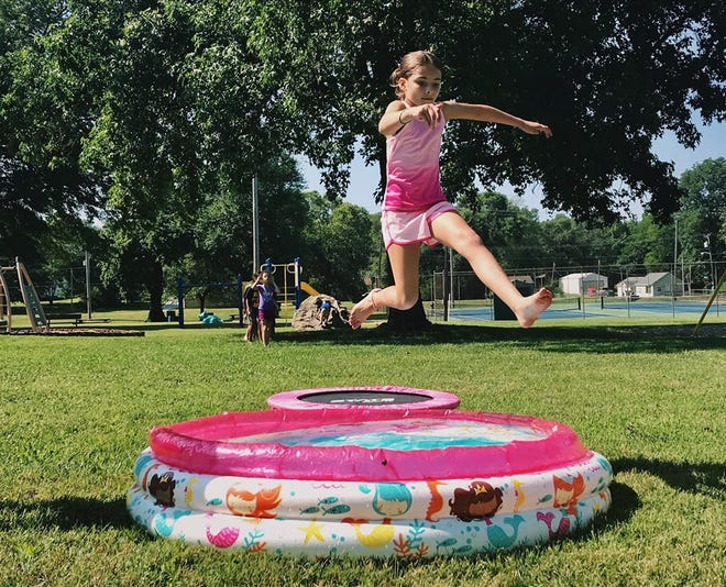 One of the Run for Fun exercises is sprinting to the mini-trampoline and bounding over the small pool. Run for Fun is for children  6 to 11 who live in Springfield. It's  free and will be held at 10 a.m. every Saturday in June and July at Hailey's Playground in Westport Park near Westport Elementary School, 415 S. Golden Ave.
